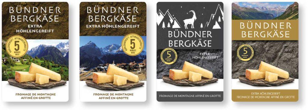 Fromages des montagnes grisonnes - Bündner Bergkäse - étude nouvelle étiquette Denner