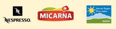 Logo Nespresso Micarna DLR ADR clients de l'Agence Packaging Satellites Design