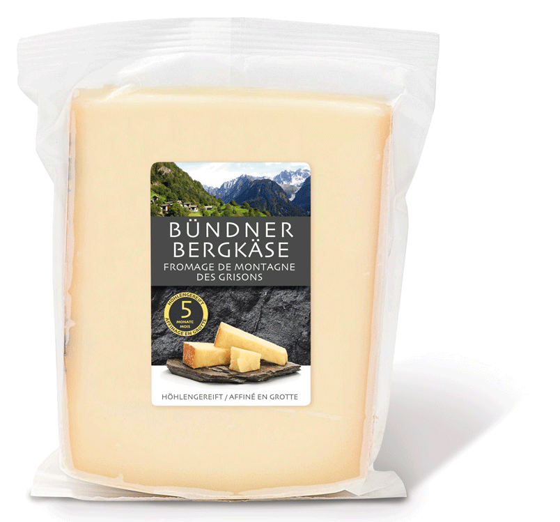 Fromages des montagnes grisonnes - Bündner Bergkäse - nouvelle étiquette étiquette Denner